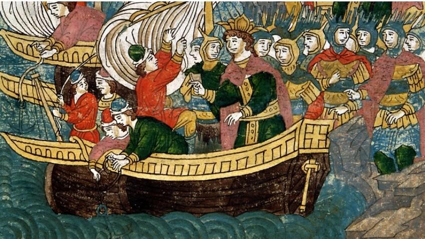 Prva ruska flota. Miniatura iz ruskega rokopisa 16. stoletja. Državni zgodovinski muzej, Moskva.