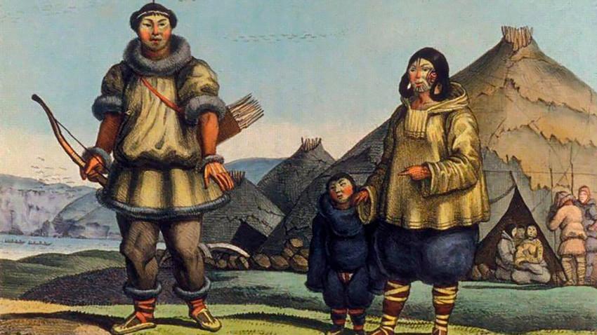 Породица Чукчи, Луј Хорис (1816). Припадници овог народа били су опасни ратници. Чак ни Руска империја није могла да их победи.