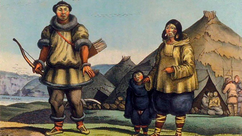 Familia de Chukchi, obra de Louis Choris (1816).