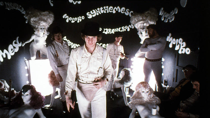 Malcolm McDowell dans Orange mécanique (A Clockwork Orange), Kubrick.