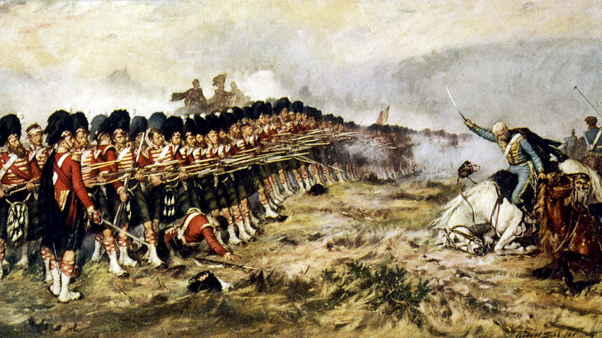 The 'Thin Red Line' of the 93rd Highlanders repel the Russian cavalry, Oct. 25, 1854.