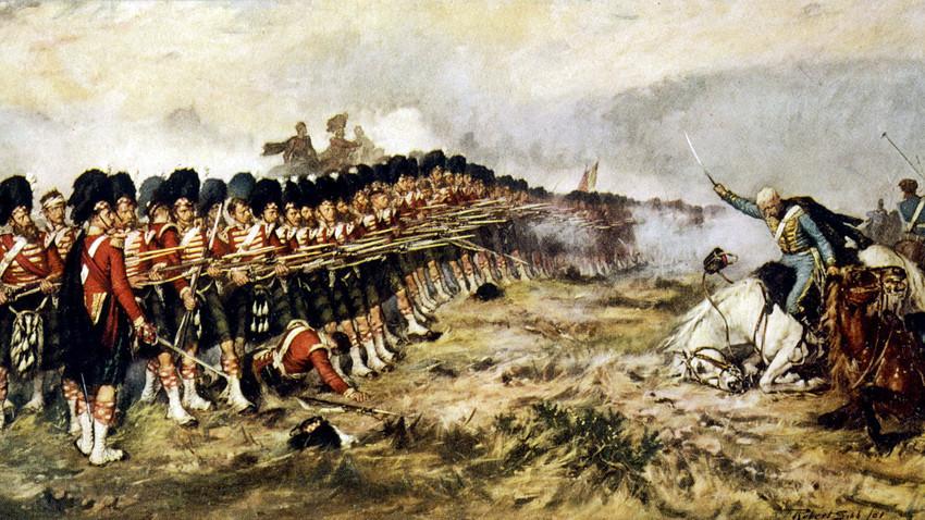 """""""Tanka crvena linija"""" 93. škotskog regimenta odbija rusku konjicu, 25. listopada 1854."""
