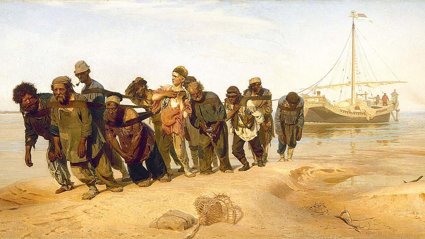 『ヴォルガの船引き』(1870年~1873年)、イリヤ・レーピン画