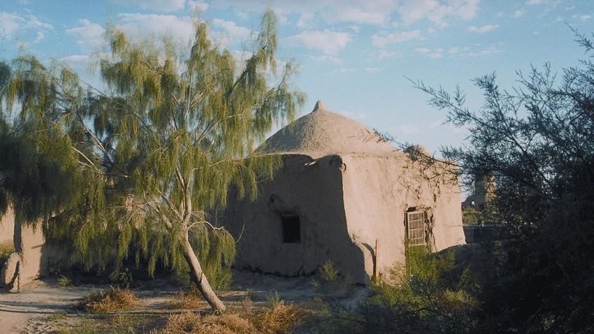 Altes Mausoleum mit Saksaul Baum, Turkmenistan