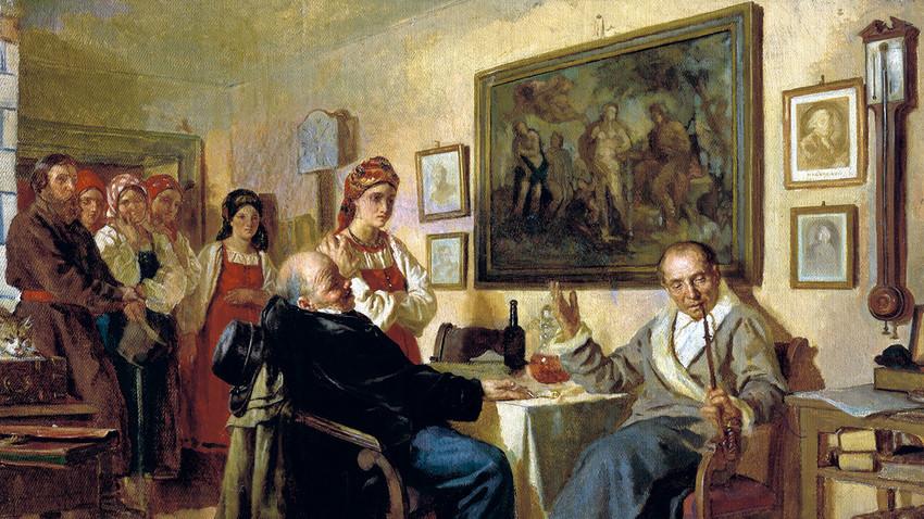 Das Feilschen. Bild von Nikolaj Newrew, 1866