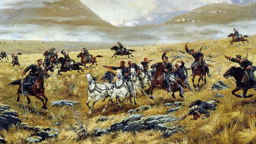 Нижегородски драгунски пук прогони Турке крај Карса, 1877. Аутор слике - Алексеј Кившенко