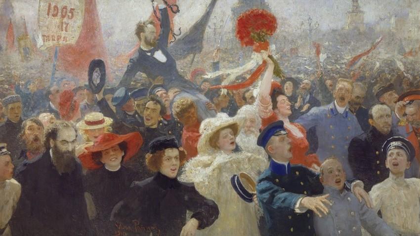 Demonstracije 30. (17.) oktobra 1905, avtor slike Ilja Repin.
