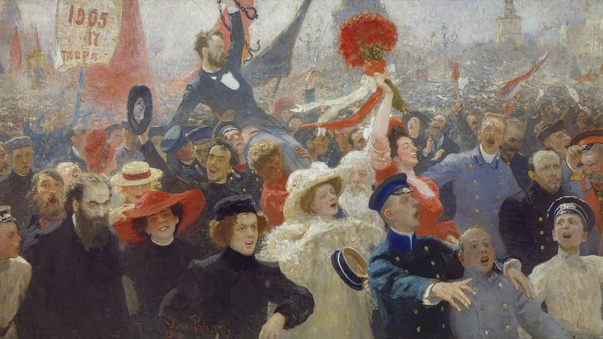 """""""Protesto em 30 de outubro"""", 1905, de Iliá Repin"""