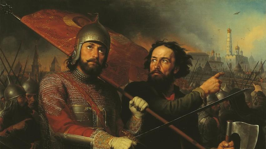 Michail I. Skotti: Dmitrij Poscharskij (links) mit Kusma Minin (1850)