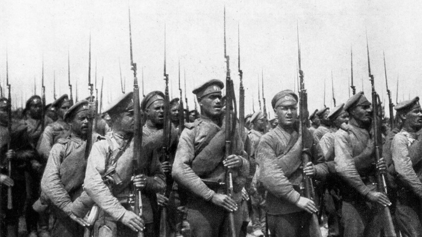 Russian soldiers during the WWI.