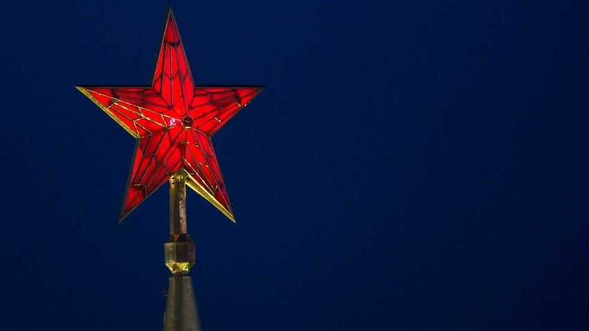 The ruby star atop the Spasskaya Tower of the Moscow Kremlin