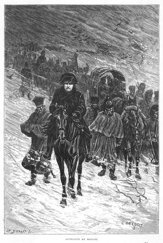 Napoleón retirándose de Moscú en 1812.