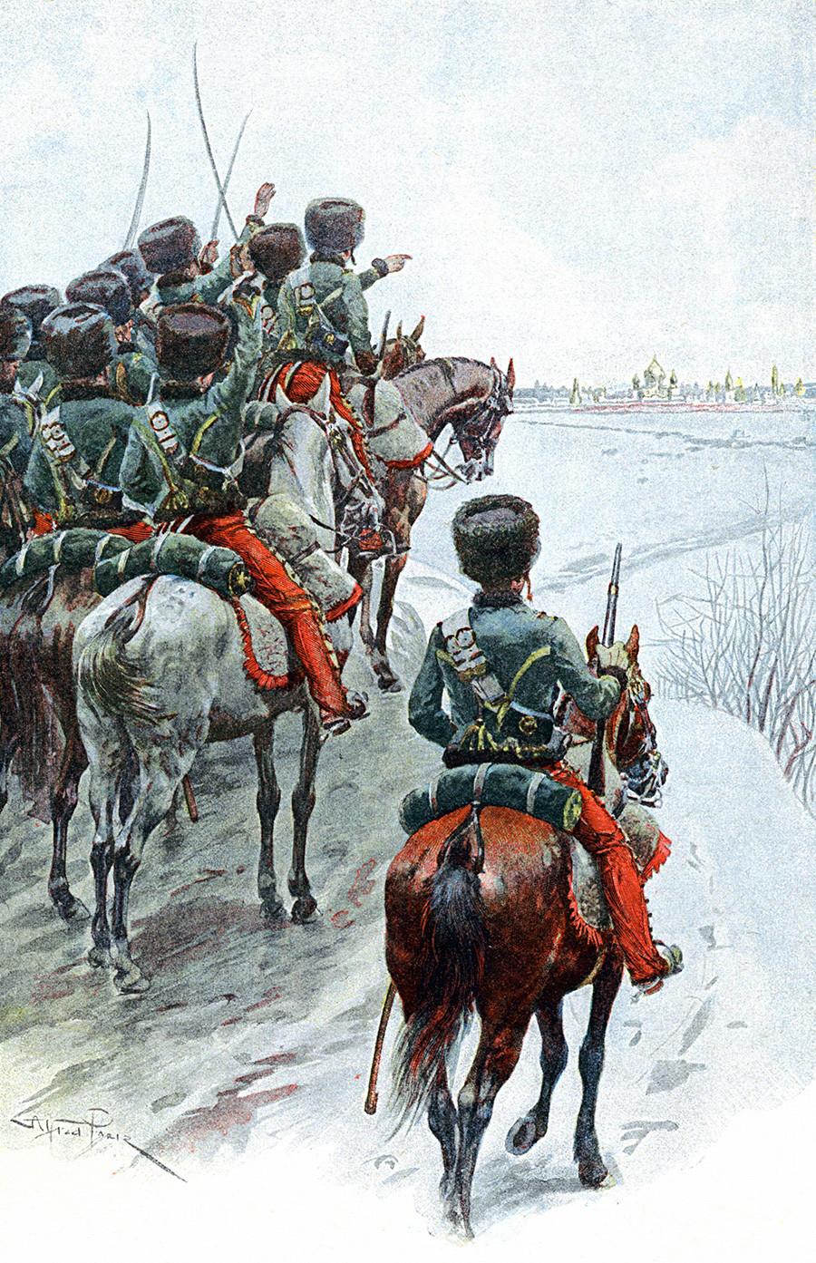 La Grande Armée de Napoleón observando Moscú, 1812.