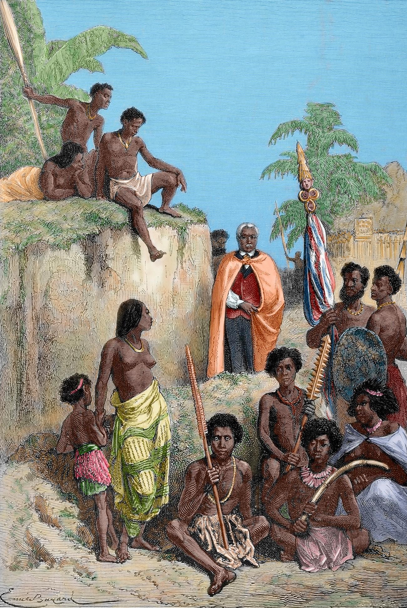 Kamehameha (1758-1819) con sus guerreros, obra de E. Bayard.