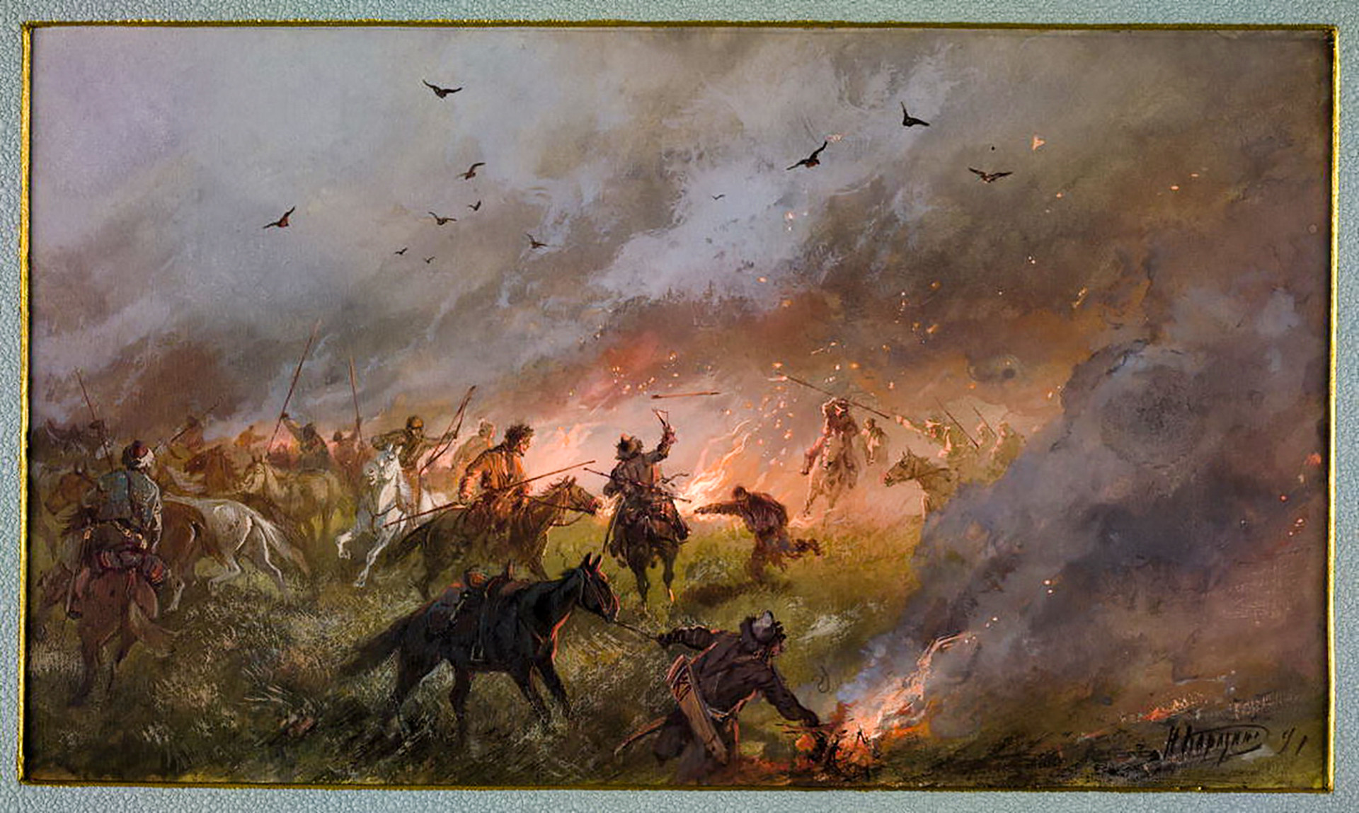 Las tropas de Pugachov luchan en Siberia, obra de N. Karazin.
