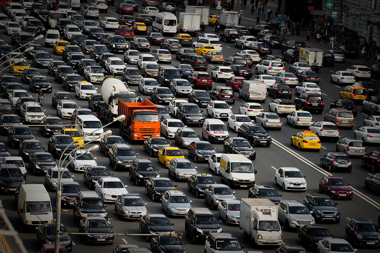 A traffic jam in Moscow