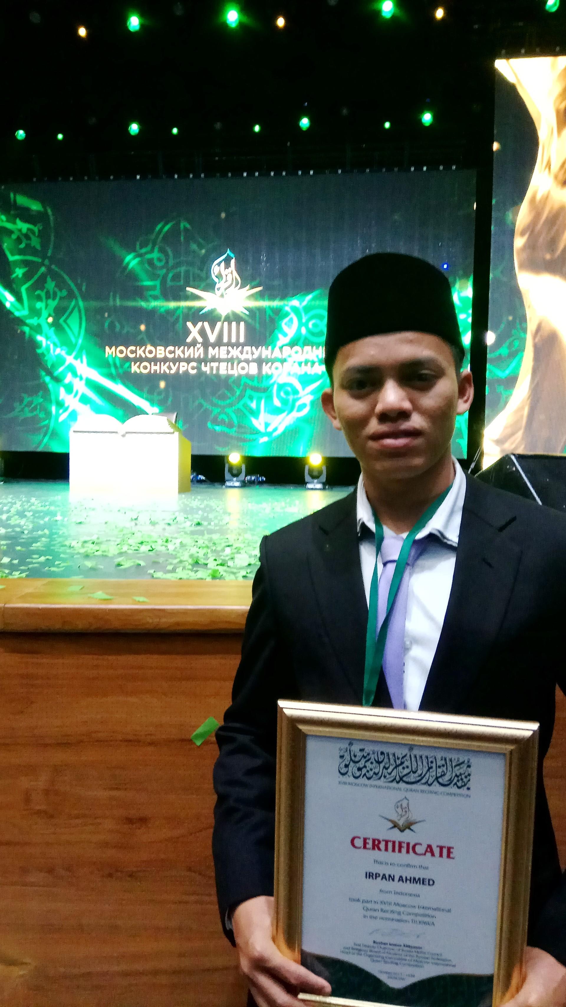 Tahun ini, Indonesia diwakili oleh Irfan bin Ahmad Timat, seorang pemuda asal Kepulauan Riau yang sebelumnya meraih juara II kategori tilawah tingkat remaja pada Musabaqah Tilawatil Quran (MTQ) Nasional ke-26 di Lombok tahun lalu.