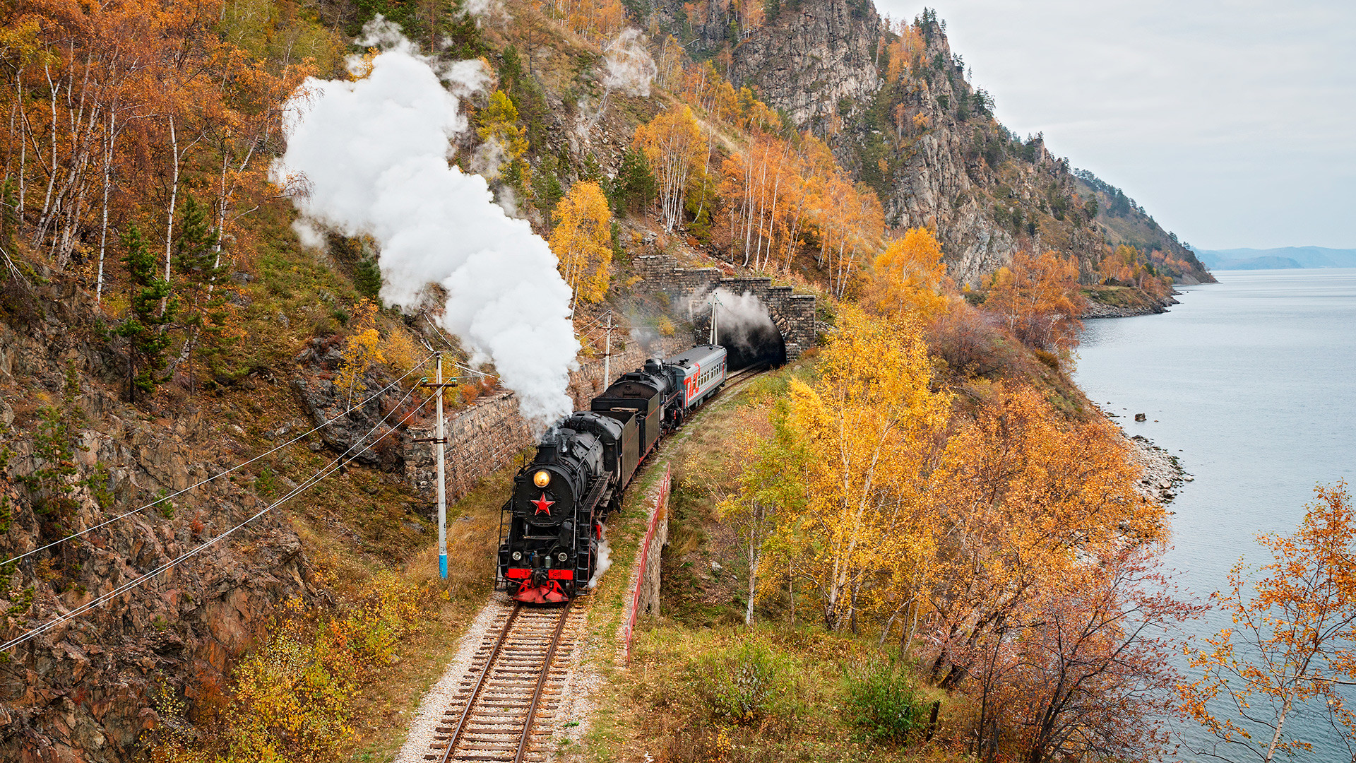 Old steam locomotive in the Circum-Baikal Railway.