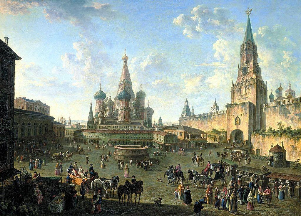 Rdeči trg s katedralo Vasilija blaženega in Kremljem / slika: Fjodor Aleksejev (1801)