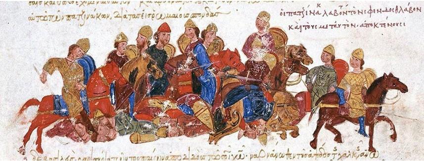 Pečenegi pobijajo Skite Svjatoslava I. Kijevskega