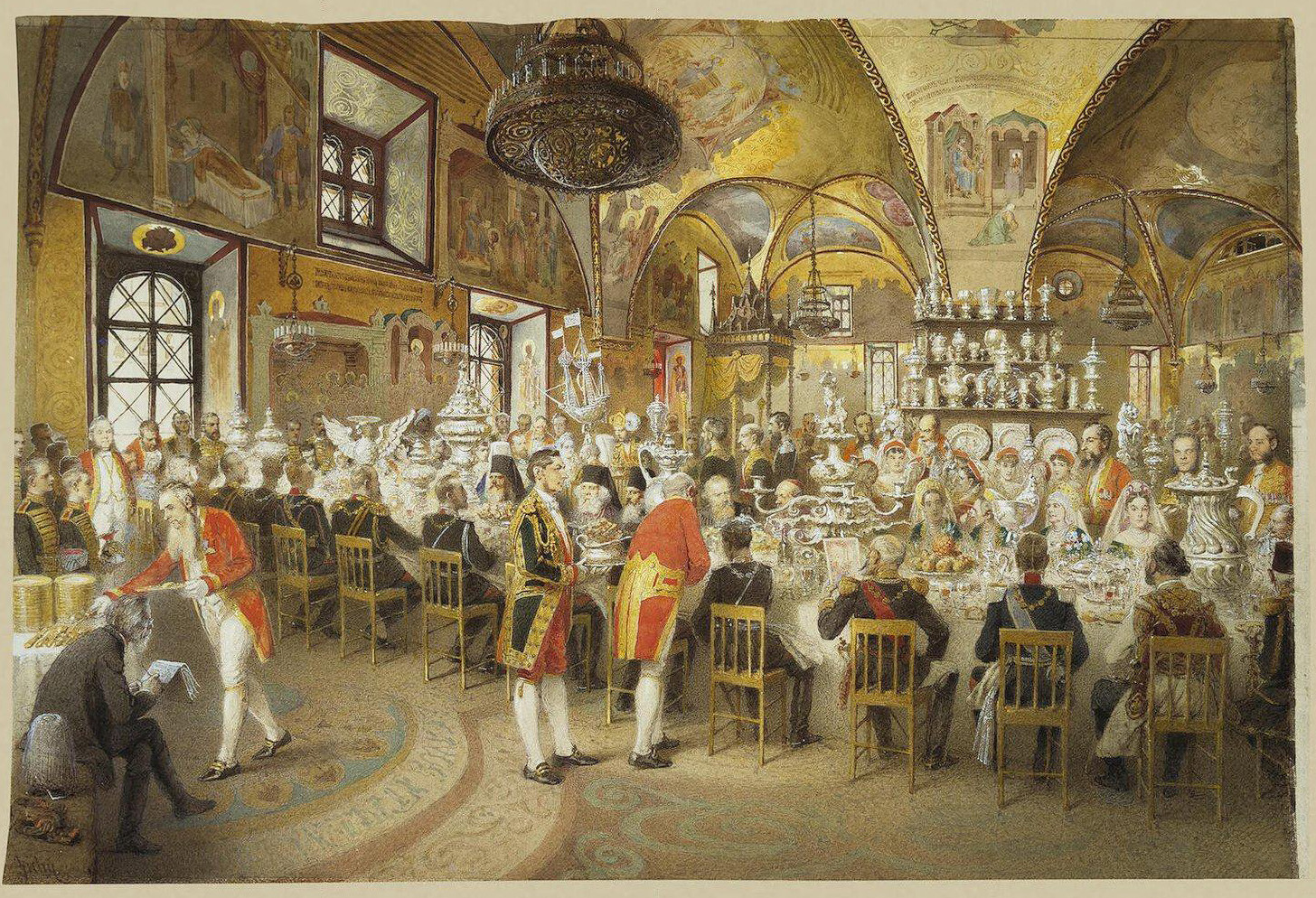 Mihály Zichy. The gala dinner in the Concert hall of the Winter Palace, 1873.