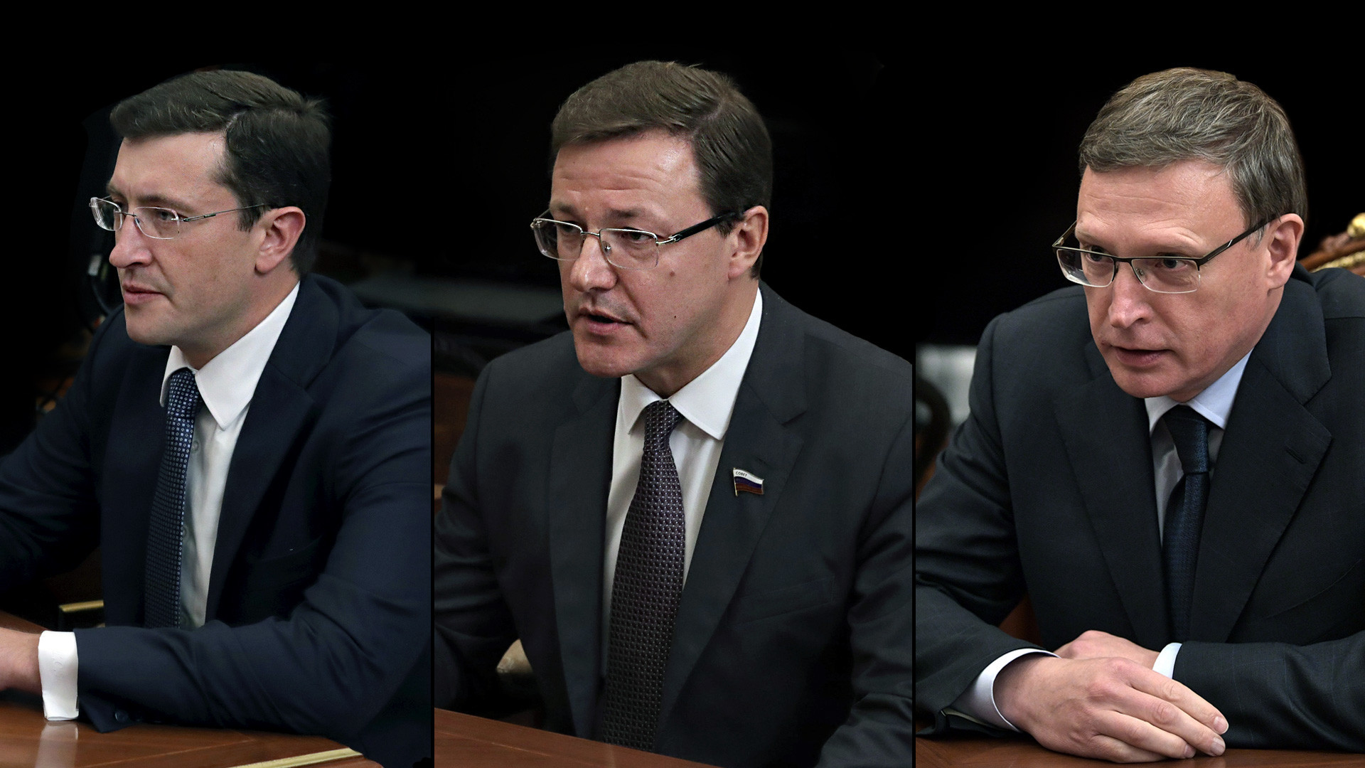 Gleb Nikitin, Dmitry Azarov, Alexander Burkov (dari kiri ke kanan) - tiga gubernur sementara yang ditunjuk Vladimir Putin.