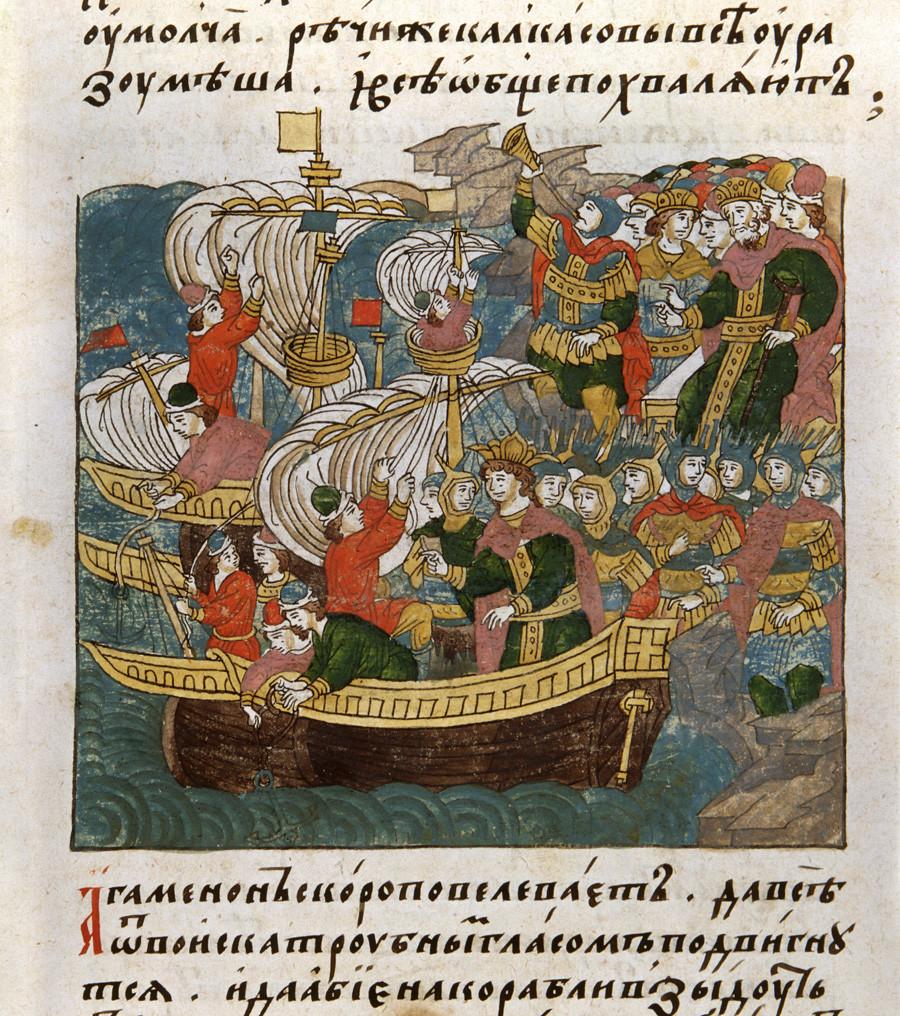 Първият руски флот. Миниатюра от руски ръкопис XVI век.