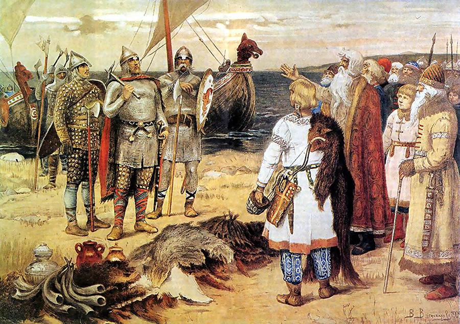 Поканата на варягите: Рюрих и братята му пристигат в Старая Ладога. От Виктор Михайлович Васнецов