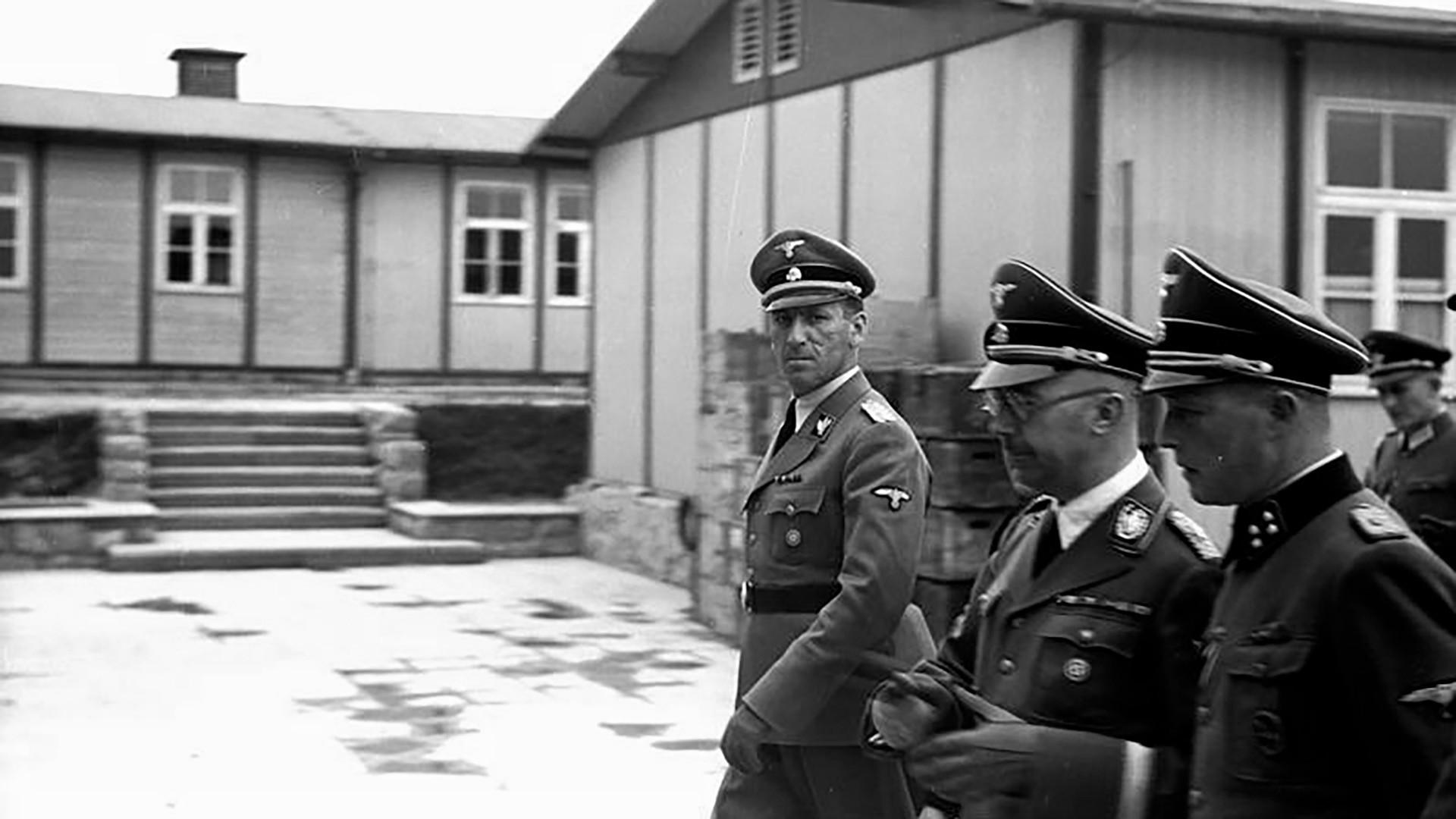 Концентрационен логор Маутхаузен. Химлер, Калтенбрунер и Цирајс.
