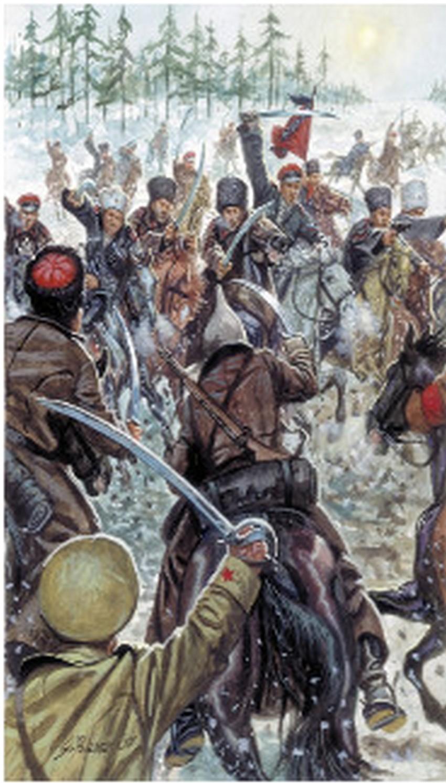 Giuseppe Rava, Kozaki se borijo proti beli armadi v ruski državljanski vojni leta 1919.