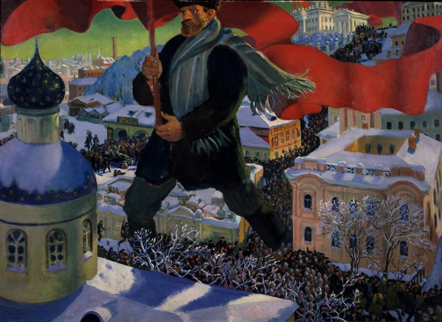 Le Bolchevik par Boris Kustodiev.