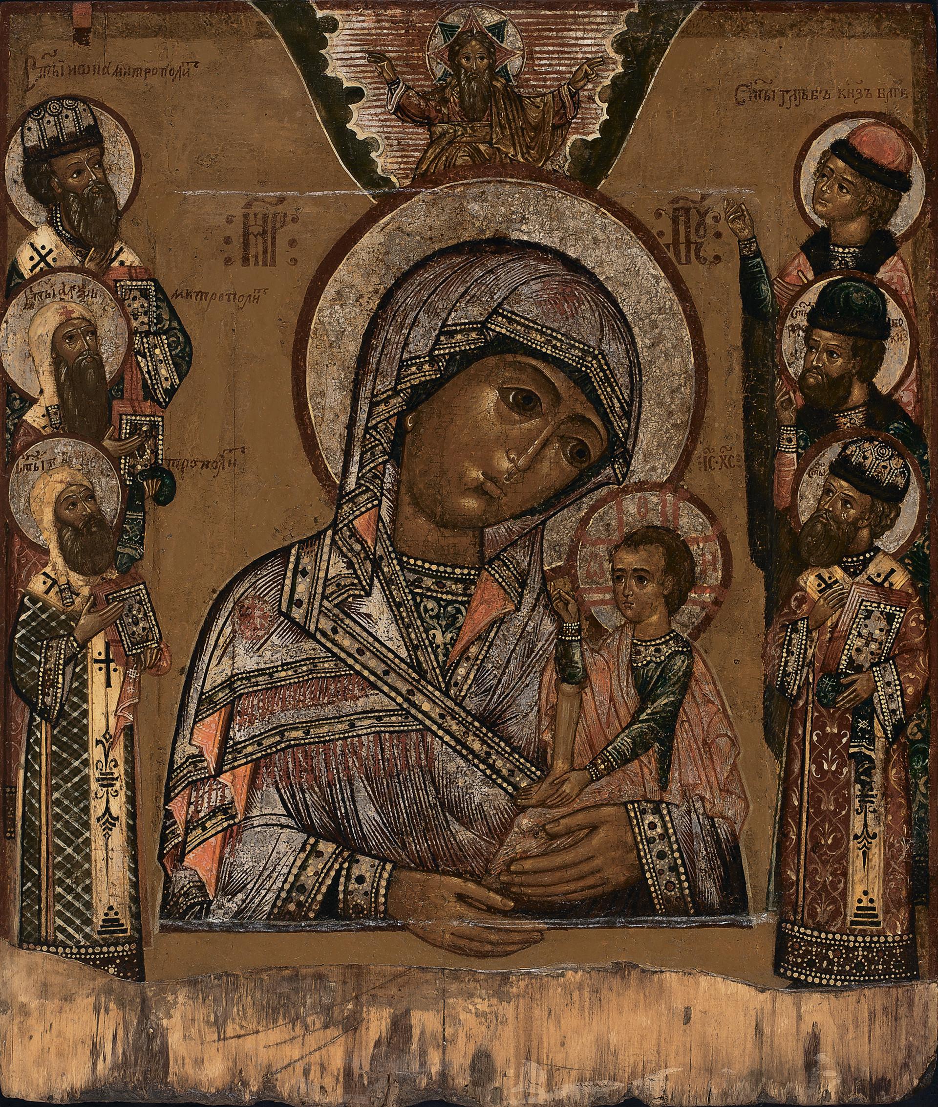 Madre di Dio Odigitria con santi sullo sfondo
