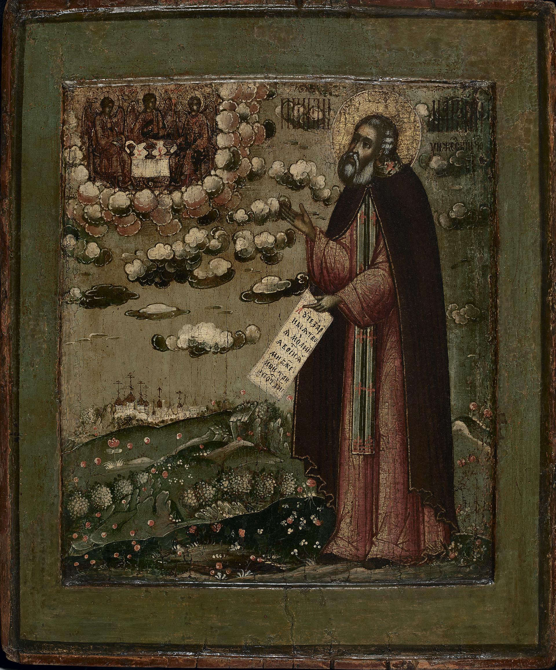 Venerato Makarij di Unza con veduta del Monastero della Trinità
