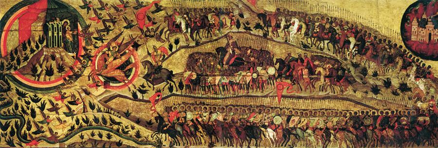 """""""Благословено царство Небескога Цара"""". Руска икона око 1550-1560. Ова икона се по традицији третира као алегоријски приказ опсаде Казања од стране трупа Ивана IV."""