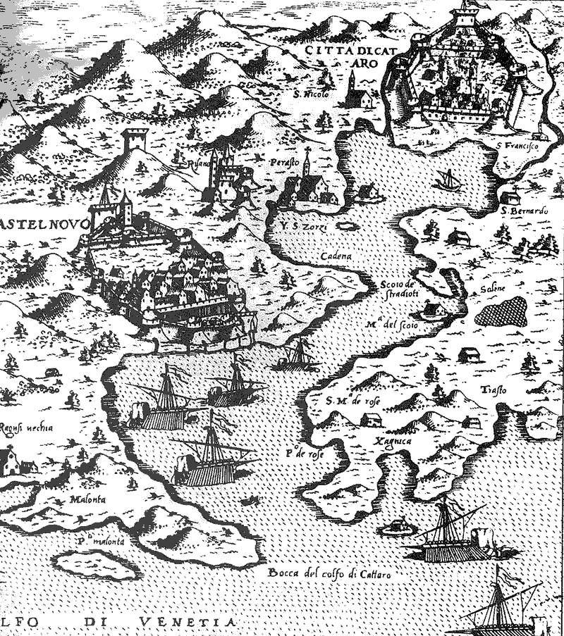 Stara karta Boke kotorske.
