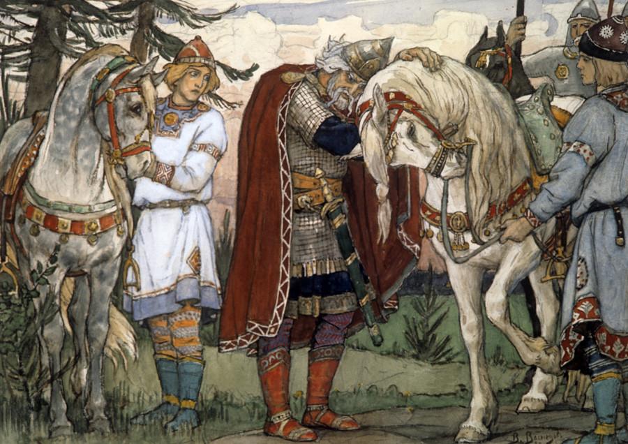 The illustration for Alexander Pushkin's poem 'The Song of the Wise Oleg' by Viktor Vasnetsov, 1899