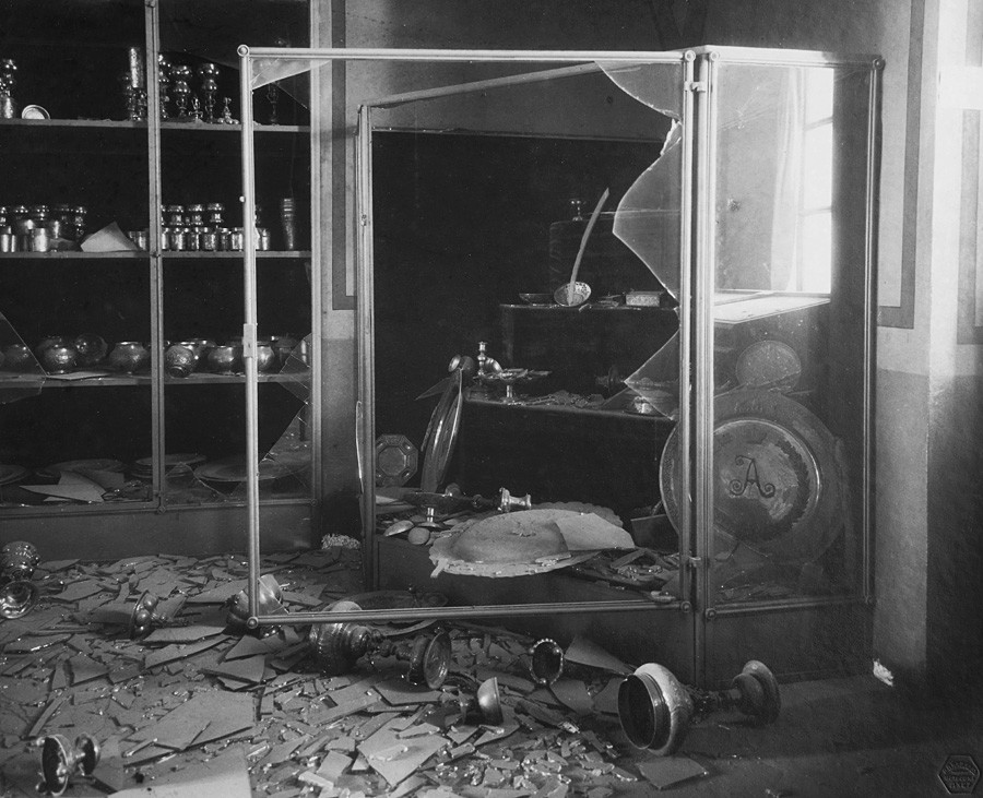 The Patriarch's Vestry after the bombardment of the Moscow Kremlin. Chamber number 3. General view and broken cabinet. Photograph by P.P. Pavlov. Nov. 14, 1917.