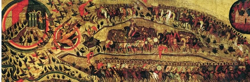 Ruska ikona iz obdobja 1550-1560. Po tradiciji je to alegorični prikaz obleganja Kazana s strani Ivana IV.