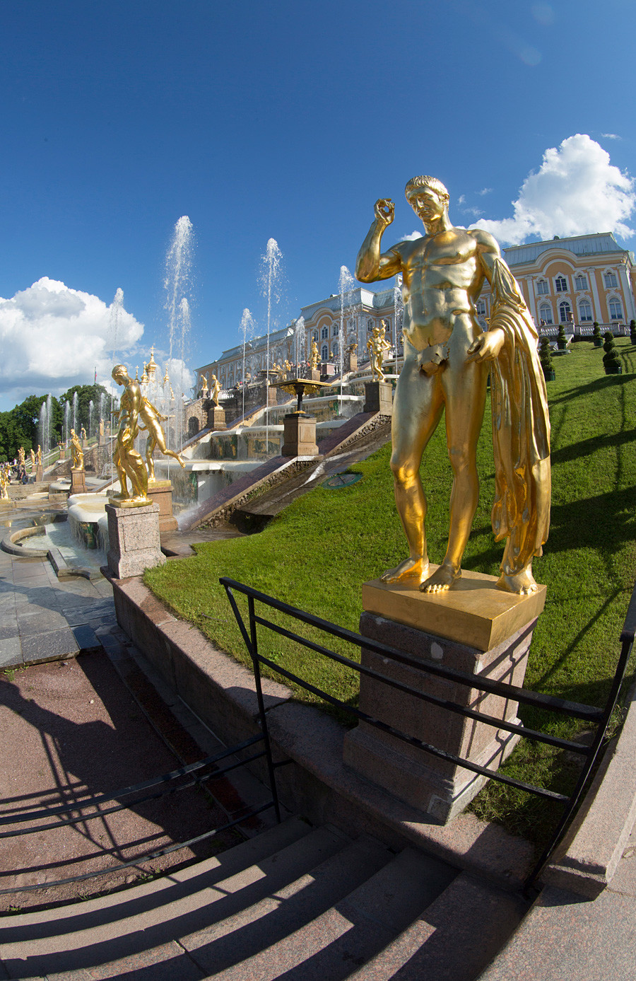 Golden statues and fountains in Peterhof Park Petrodvorets.