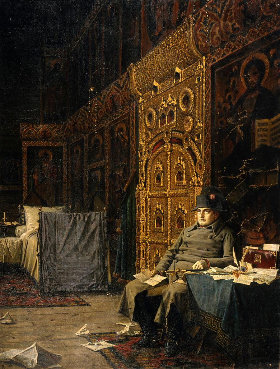 Di panggung. Berita Buruk dari Prancis karya Vasily Vereshchagin, 1887-1895, cat minyak pada kanvas.