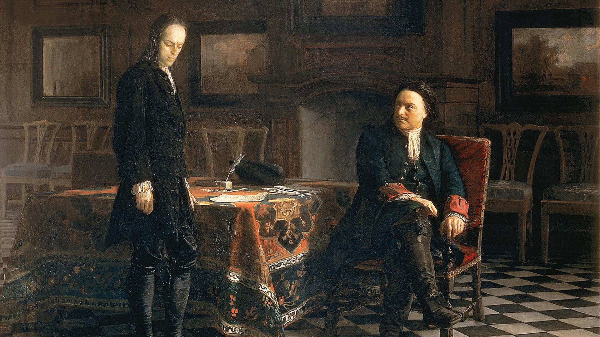 Pyotr I menginterogasi putranya, Aleksey, karya Nikolay Ge.