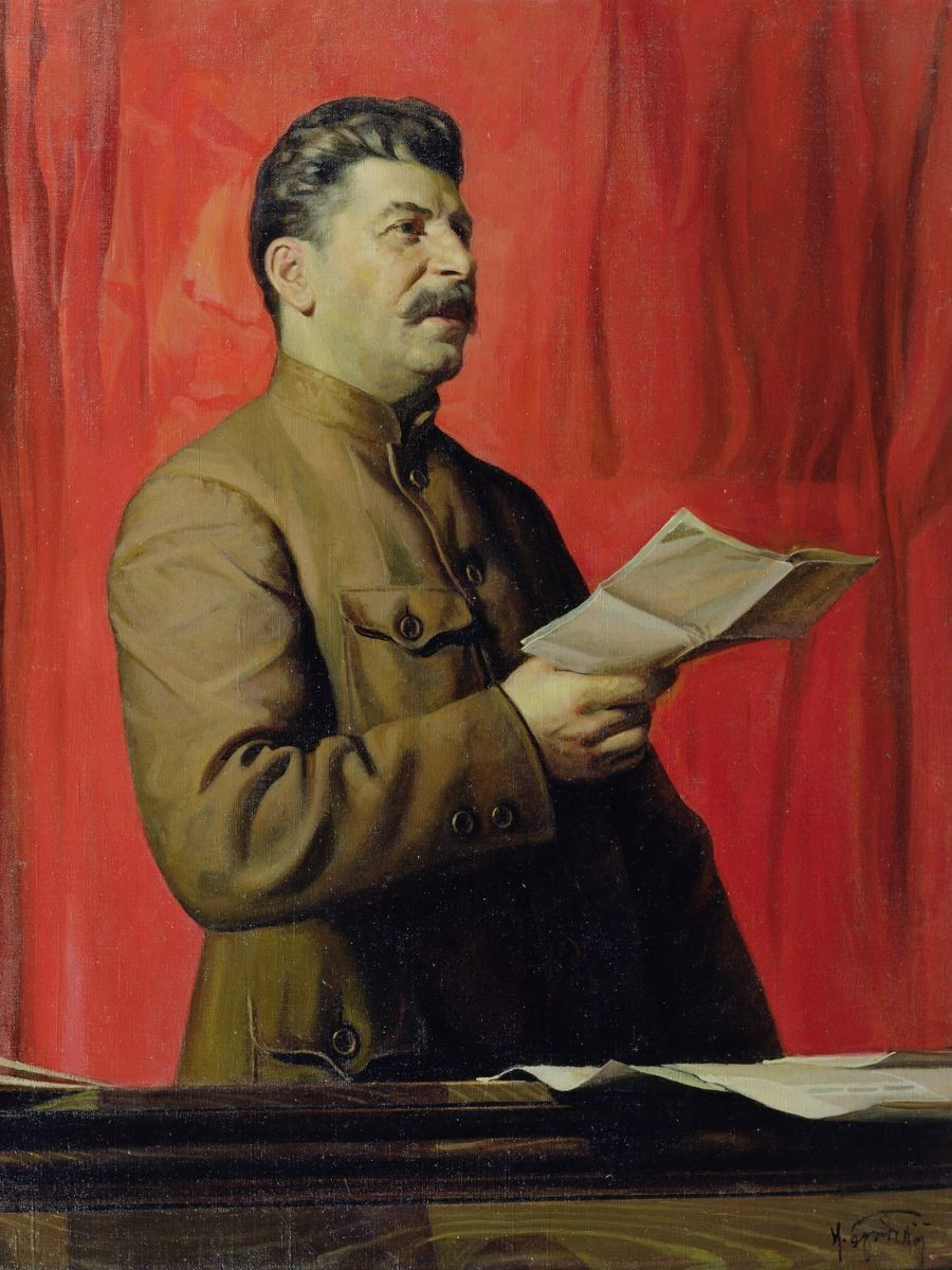Stalin seria assassinado com projétil envenenado; na imagem, o líder soviético é retratado por Isaak Brodski.
