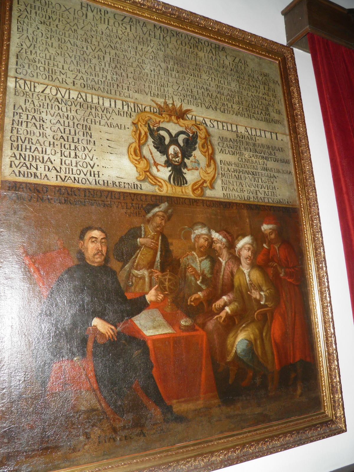 Слика у музеју Пераста: Марко Мартиновић подучава руске бојаре и кнежеве