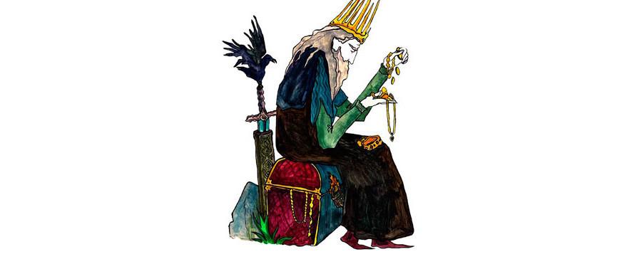O Imortal Koscheithe, um monarca malvado, é geralmente retratado como um velho rabugento ou como um rei montado em um cavalo.