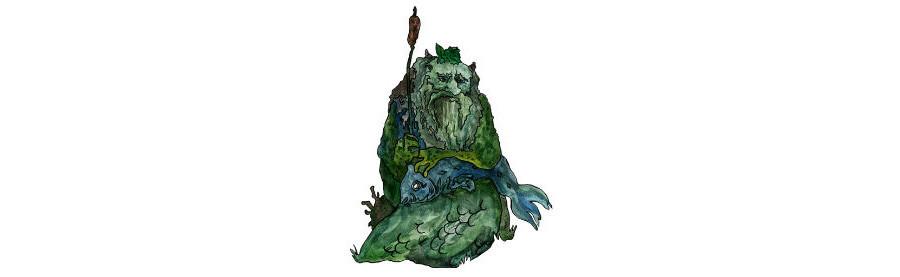 Na mitologia eslava, o Espírito da Água é geralmente um homem idoso coberto de algas e limo.