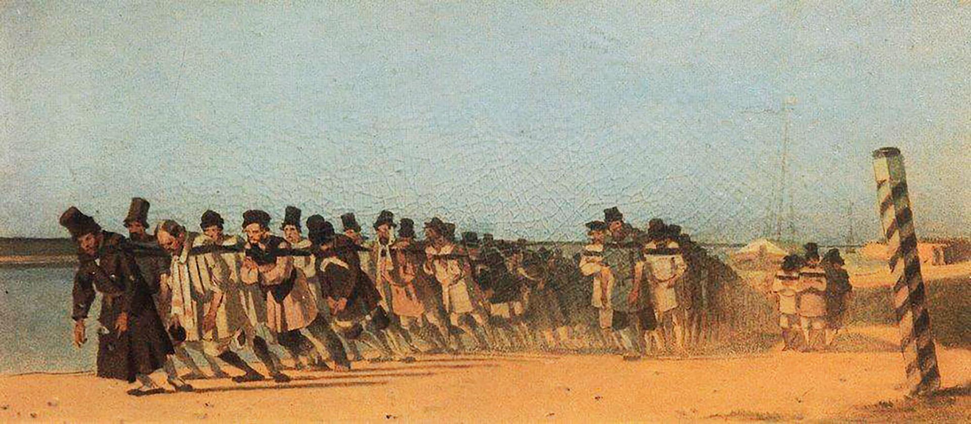 「船引き」(1866年)、ヴァシーリー・ヴェレシチャーギン画