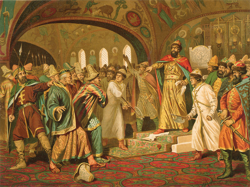 Aleksej Kiwschenko (1851-96): Iwan der große zerreißt einen Brief des mongolischen Khans