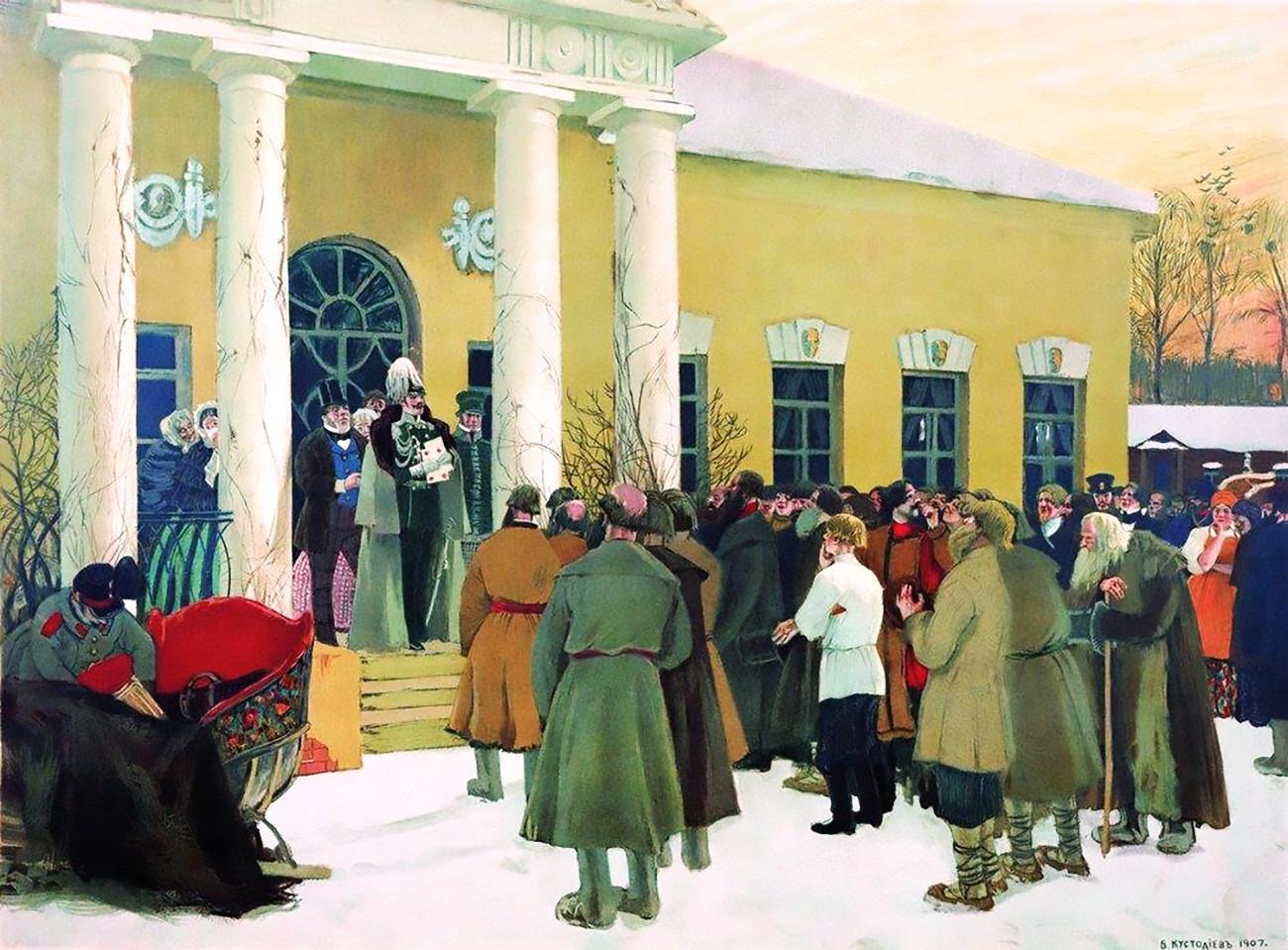 Verlesung des Manifests zur Befreiung der Bauern von Boris Kustodijew, 1907