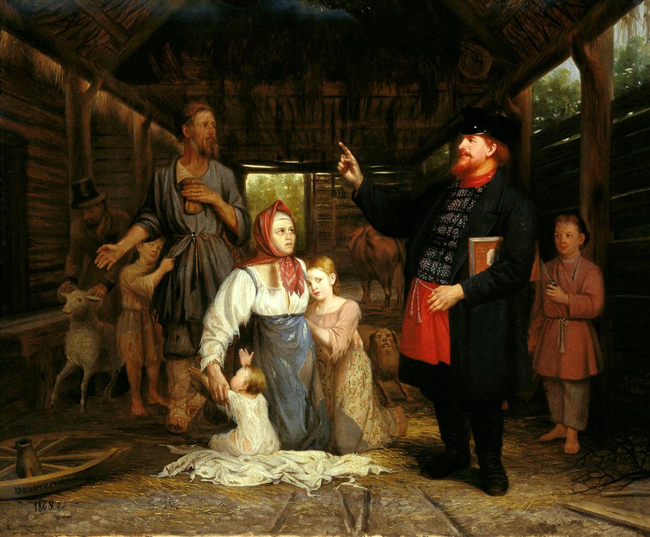 Eintreiben der Schulden in einem Bauerndorf von Alexander Krasnoselsky, 1869