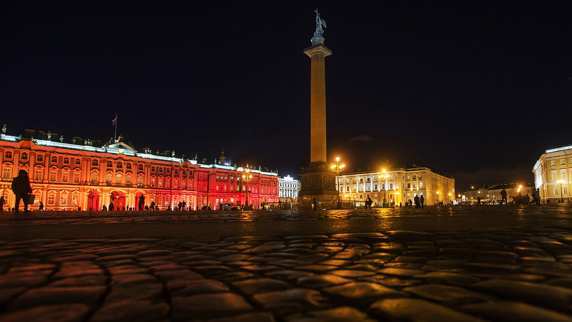 The Storming of the Winter Palace light show in St. Petersburg.